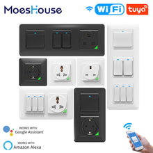 Carica l'immagine nel visualizzatore di Gallery, WiFi Smart Light Wall Switch Socket Outlet Push Button DE EU Smart Life Tuya Wireless Remote Control Work with Alexa Google Home