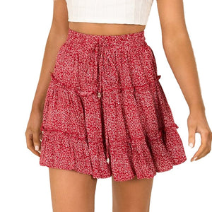Boho Pleated Mini Skirts Womens High Waist Polka Dot Short Skirt A Line Floral Printed Ruffle Chiffon Skirts Gonna Donna d2