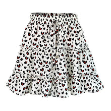 Carica l'immagine nel visualizzatore di Gallery, Boho Pleated Mini Skirts Womens High Waist Polka Dot Short Skirt A Line Floral Printed Ruffle Chiffon Skirts Gonna Donna d2