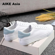 Carica l'immagine nel visualizzatore di Gallery, HOT Women Sneakers 2020 Fashion Breathble Vulcanized Shoes Women Pu leather Platform Shoes Women Lace up Casual Shoes White