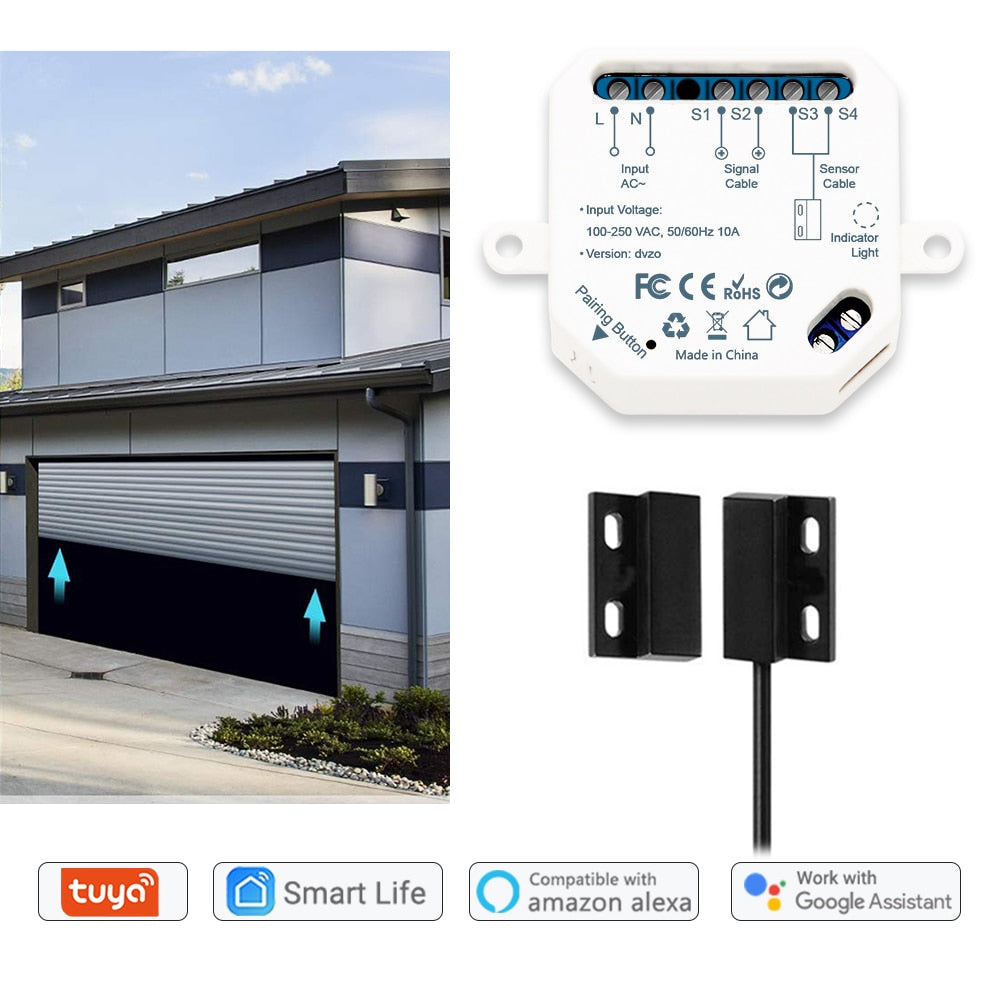 Garage Door Sensor Opener Controller Remote WiFi Switch Tuya Smart Life App Alert works with Google Home Alexa Home Automation