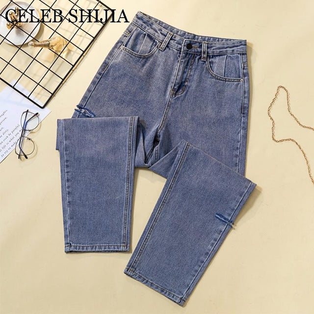 2019 Jeans Female Denim Pants light blue korean fashion Boyfriend Hole Loose pants for woman Donna High Waist Trousers Ladies