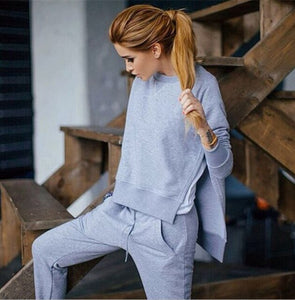 Fashion women outfits 2 piece solid color tracksuit women split hoodies tops calça moletom 2020 tute sportive donna inverno