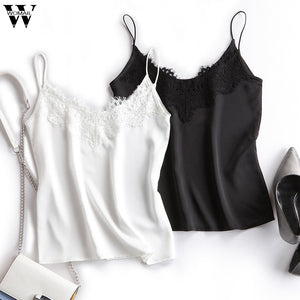 Womail Camis Top Women summer Sexy Camisole Lace Loose Casual V neck Satin Silk sling sleeveless shirt canotte donna 2020 Club