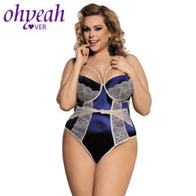Carica l'immagine nel visualizzatore di Gallery, Ohyeahlover Jumpsuit Sexy Pagliaccetti Donna Salopette Femme Fashion Bodysuit RM80188 Blue Open Back Floral Lace Teddy Plus Size