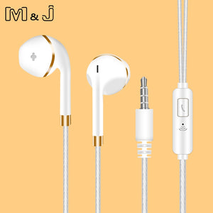 M&J New V5 In-Ear Earphone For Apple Iphone 5s 6s 5 Bass Earbud Headset Stereo Headphone With Mic For Phone PC Mp3
