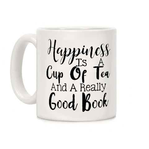 mug en ceramique pour les lecteurs citation tea books and happiness