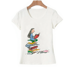 t-shirt citation roald dahl femme qui lit