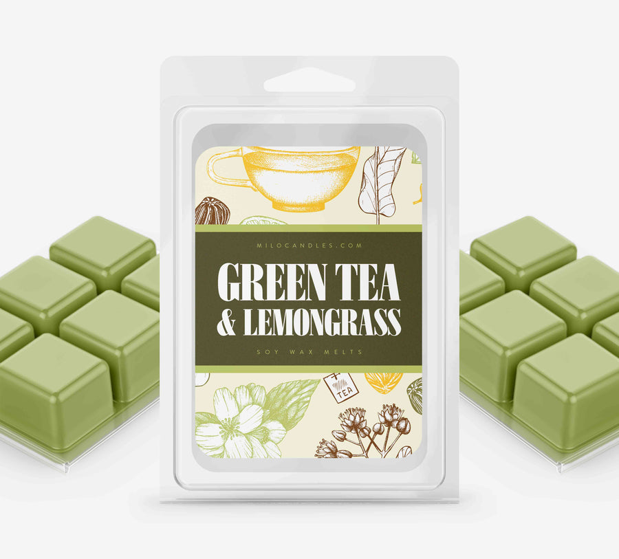 Green Tea & Lemon Grass Wax Melts - Hand Poured With 100% Natural Soy Wax
