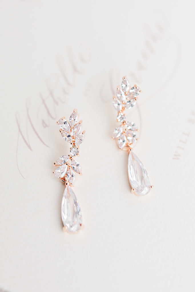 EMILIA // Rose gold wedding earrings