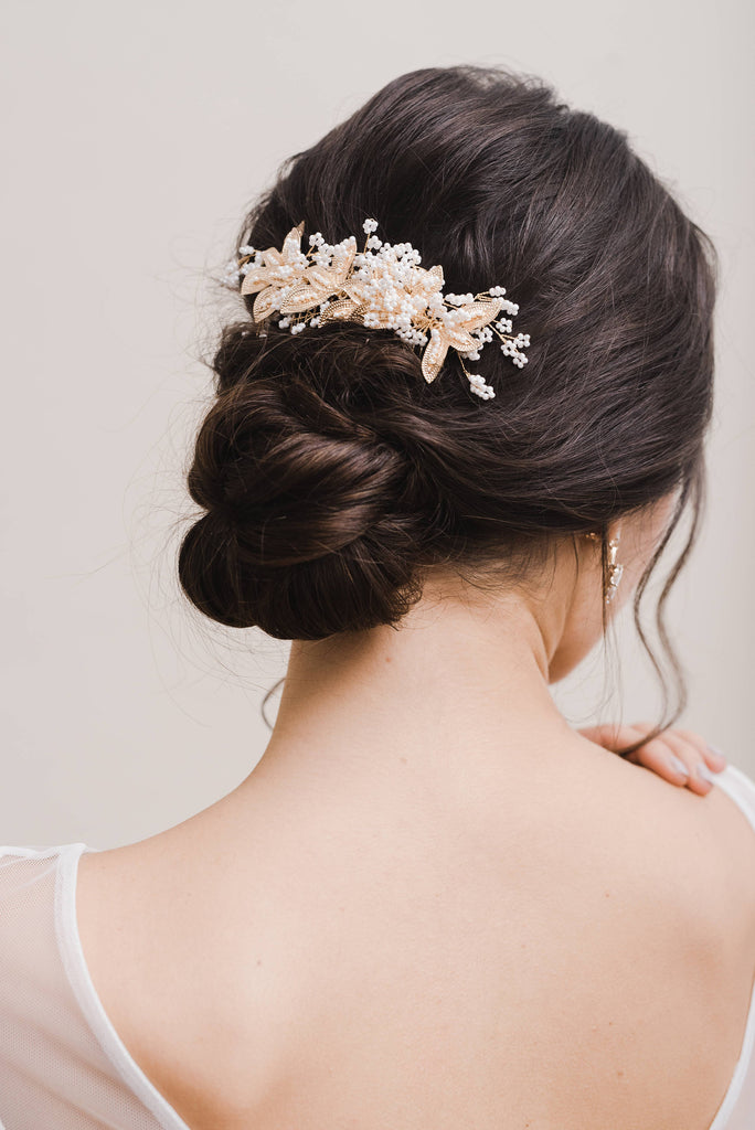 SAVANNAH // Gold leaf hair comb