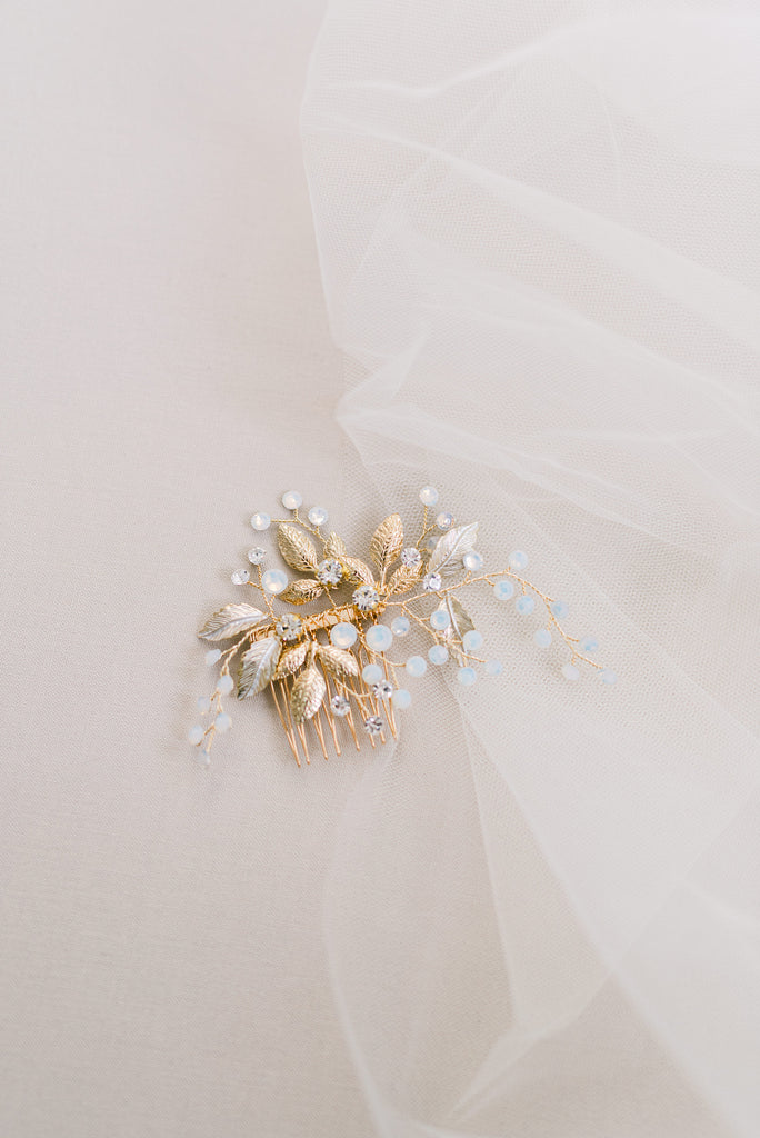 ABBY // Gold opal and leaf hair comb
