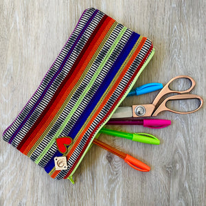 Rainbow Stripe Pencil Case Saggy Bag