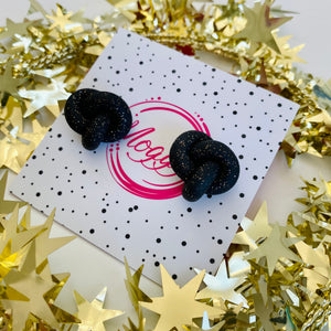 Glittering Black Christmas Twist Knots