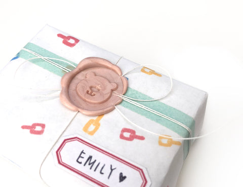 simple gift wrap with wax seal
