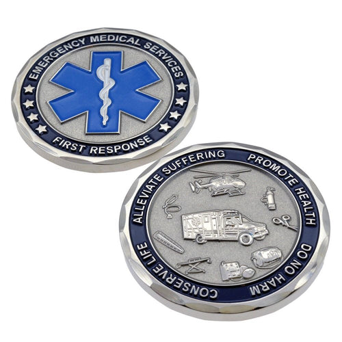 Emergency Services Star of Life - Silver Challenge Coin