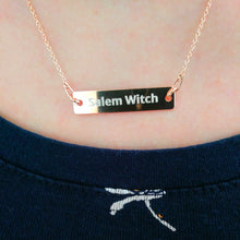 Load image into Gallery viewer, Salem Witch - Engraved Silver Bar Chain Necklace