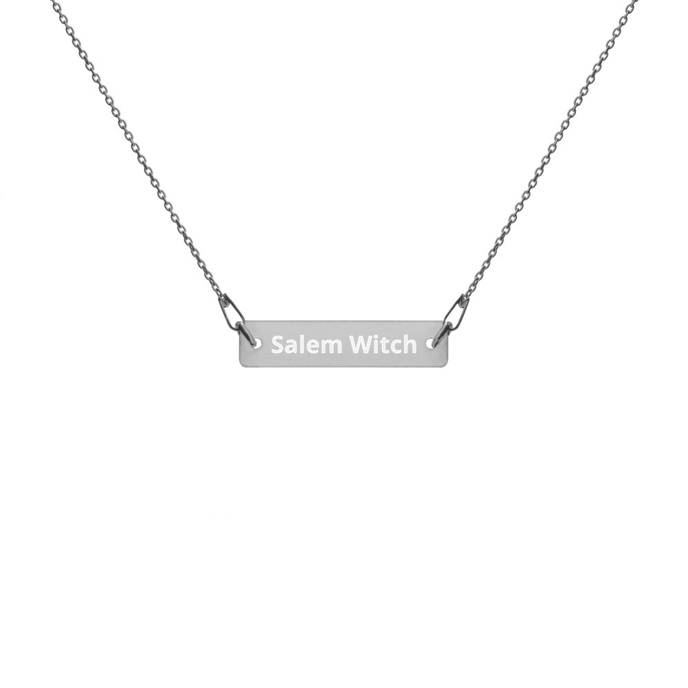 Salem Witch - Engraved Silver Bar Chain Necklace