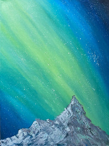 Aurora over Mountains Original Oil Painting
