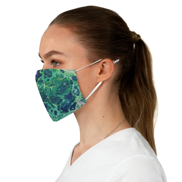 Green, Teal and Blue Fabric Face Mask