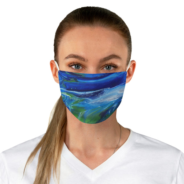 Blue and Green Fabric Face Mask