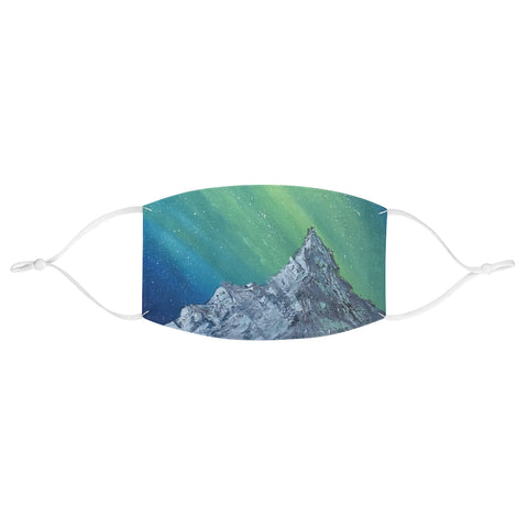 Blue and Green Mountain Aurora Fabric Face Mask