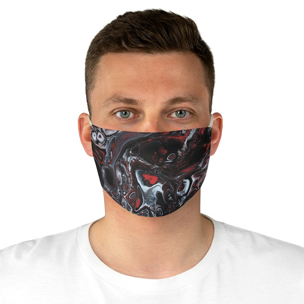 Black, Red and White Fabric Face Mask