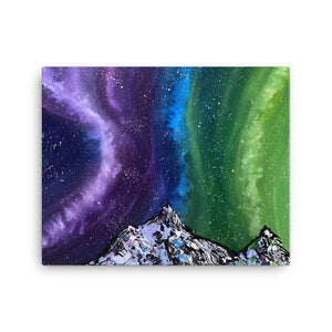 Aurora Night Sky and Mountains Canvas Print