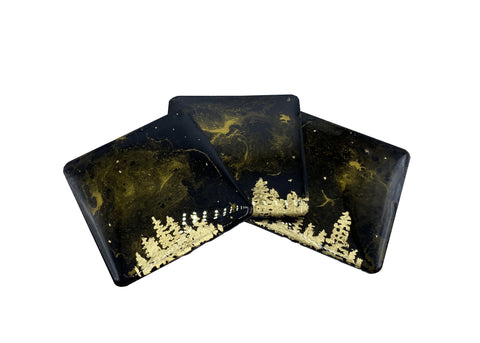 Black & gold resin-coated fluid art coasters, set of 3