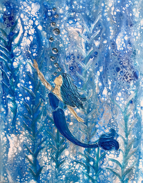 Mermaid Acrylic Painting - Fluid Art