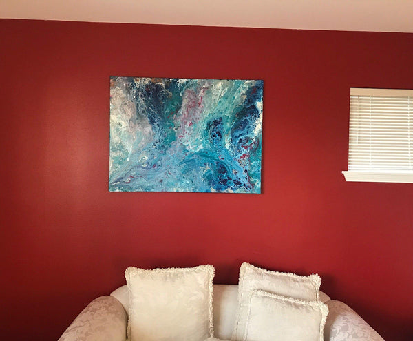 Original Large Fluid Art Acrylic Painting, Abstract Art