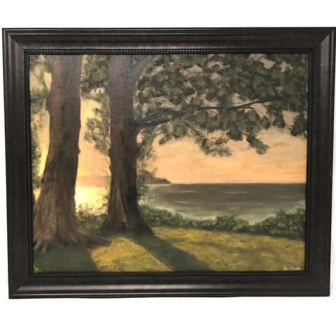 Peach Beach Original Oil Painting, Framed
