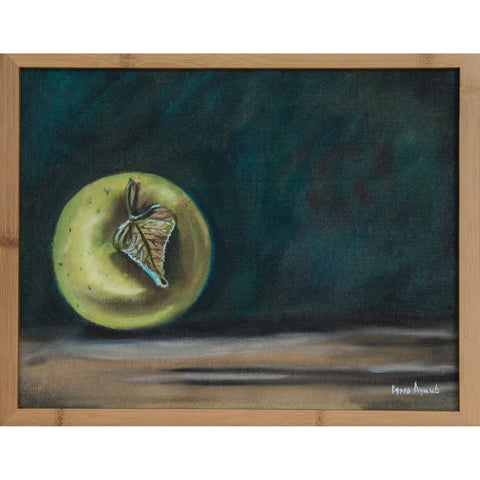 Space Apple Original Oil Painting, Framed