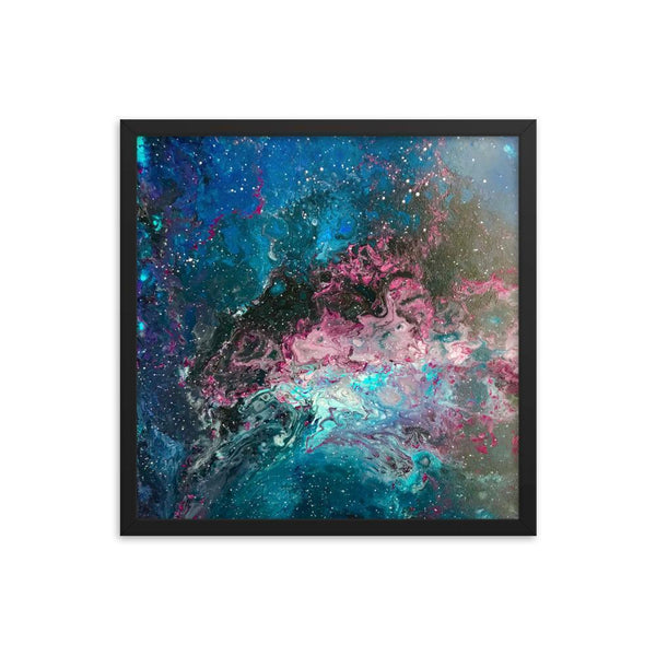 Space Fluid Art Framed poster, cosmos nebula galaxy abstract art, stars,