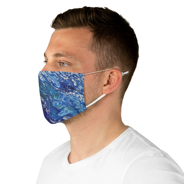 Blue and White Fabric Face Mask