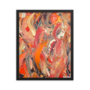 Abstract feminist framed art print poster in orange and red