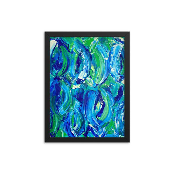 Abstract feminist framed art print in blue and green