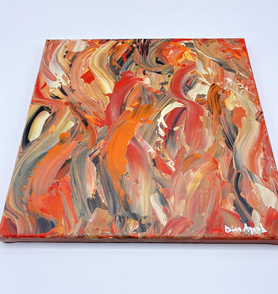 Abstract original acrylic painting in orange and red