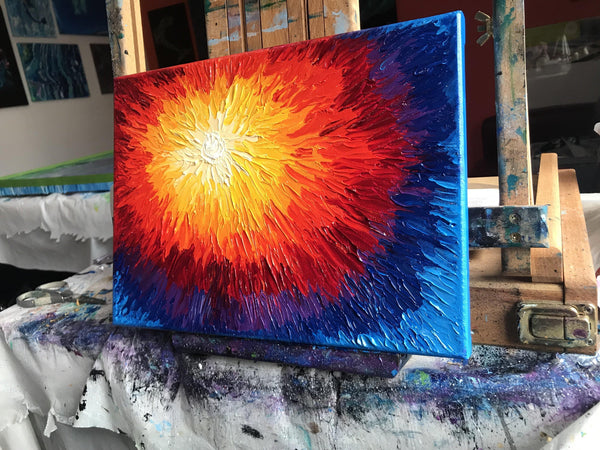 Abstract Sun Oil Painting - Textured Impasto Abstract Art