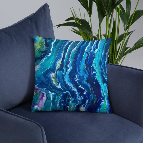 Blue Ocean Waves Decorative Throw Pillow