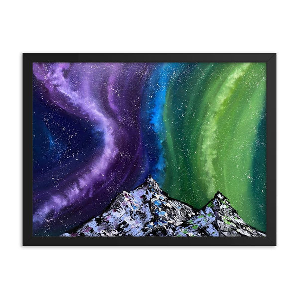 Aurora night sky and mountains framed art print