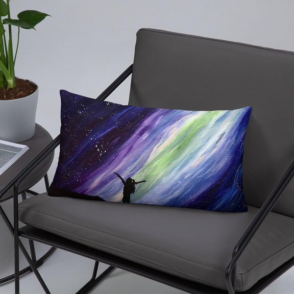Aurora night sky decorative throw pillow