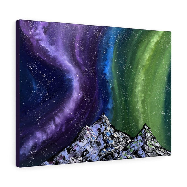 Aurora Night Sky & Mountains Art Print on Canvas