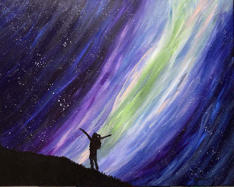 Aurora night sky original acrylic painting, feminist art