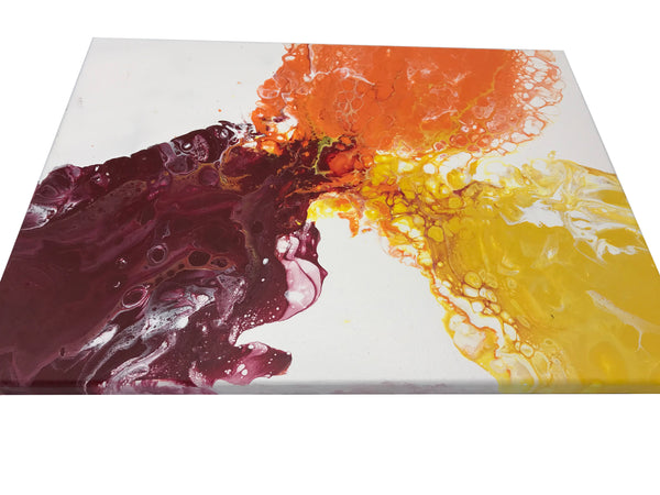 Original Fluid Art Acrylic Painting, Colorful Yellow, Red and Orange Abstract Art Painting