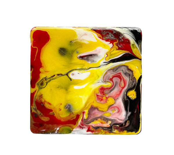 Colorful resin-coated fluid art coasters, set of 4