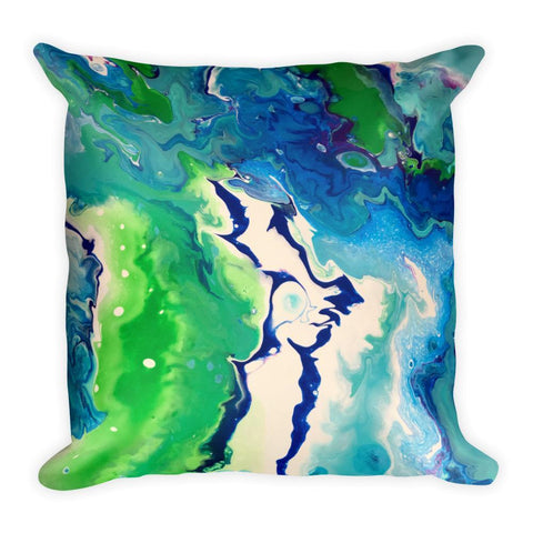 Blue Green and White Pillow, Fluid Abstract Art Throw pillow for Sofa Couch Bed