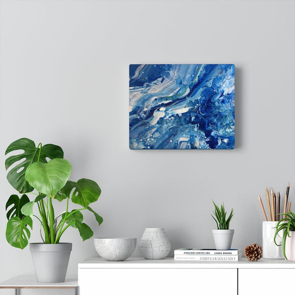 Blue Ocean Fluid Art Print on Canvas