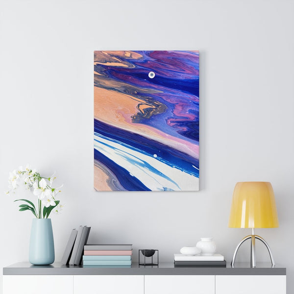 Blue, White and Orange Fluid Art Print on Canvas
