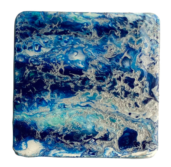Original Acrylic Painting & Resin Coasters in Blues & Silver - Set of 6